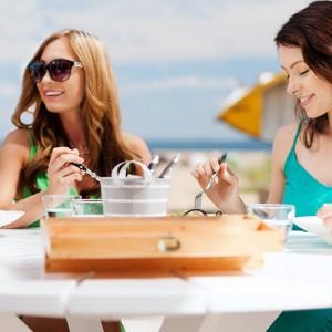 Women Enjoying Dinner Outside