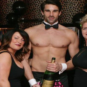 Naked Butler with Bottle of Champagne