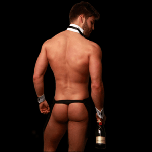 Butler with Bum with Bottle of Moet