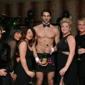 Topless Butler with Champagne Bottle