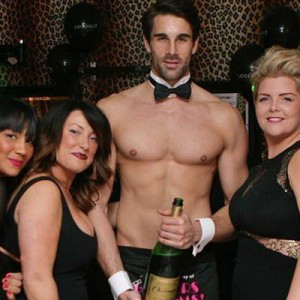 Naked Butler with Champagne Bottle