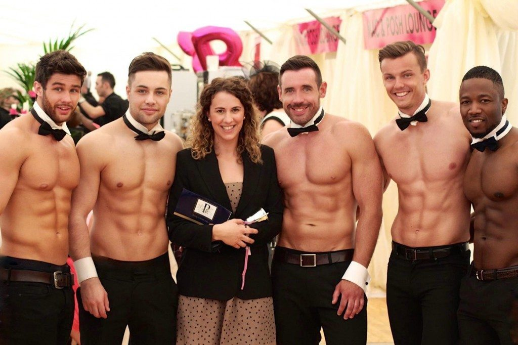 Three Topless Butlers with Lucky Lady