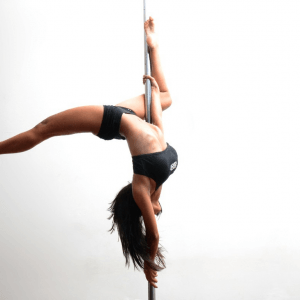 Woman Upside Down on Pole