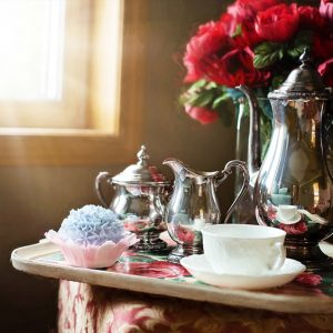 Afternoon Vintage Tea with Silverware and China Set