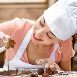 Chef Making Chocolate Candy