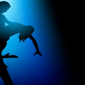 Dancing Under Blue Light Silhouette