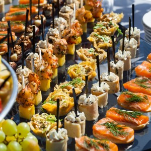 Rows of Appetizers at a Private Buffet