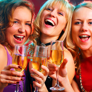 Three Hen Party Girls Enjoying a Glass of Champagne