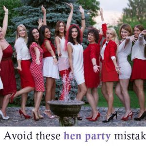 Group of Hen Party Girls in Red and White Dresses