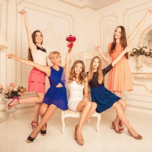 Five Women Enjoying Photo Shoot in Mansion